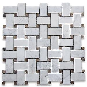 Carrara White Italian Carrera Marble Basketweave Mosaic Tile - Carrara basketweave tile gray dot