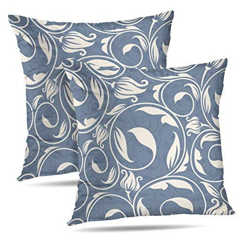 (Darkchocl Set of 2 Decorative Throw Pillow Covers Vintage Damask Scroll Floral Leaf Swirl Victorian Traditional Square Pillowcase Cushion for Couch Sofa Bed Cotton and Polyester 18