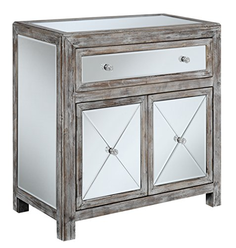 Convenience Concepts Gold Coast Collection Vineyard Mirrored Cabinet, Weathered White/Mirror by Convenience Concepts