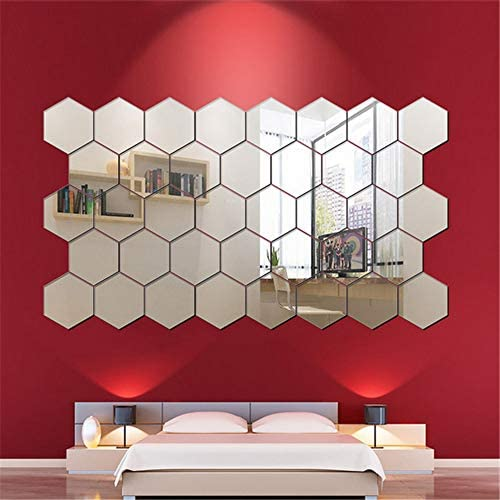 24PCS Mirror Wall Stickers, Hexagon Mirror Removable Art DIY Home Decorative Hexagonal Acrylic Mirror Sheet Plastic Mirror Tiles for Home Living Room Bedroom Sofa TV Background Wall Decal Decoration