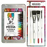 Dina Wakley Media Scribble Sticks and Brushes Bundle, 12 Water-Soluble Crayons and 4 Media Brushes