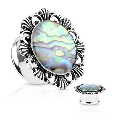 Abalone Center Vintage Flower 316L Surgical Steel Double Flared Plugs (Sold as Pairs) (Surgical Steel Double Flared Plug)