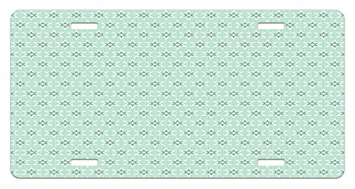 Lunarable Green License Plate, Stylized Stars Vintage Pattern Retro Colors Seventies Style, High Gloss Aluminum Novelty Plate, 5.88 L X 11.88 W Inches, Mint Green Hunter Green Pale - Aluminum Hunter Color Green