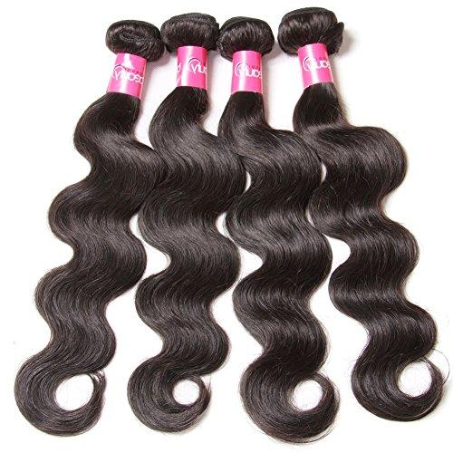 Longqi Beauty Brazilian Body Wave Virgin Hair 4 Bundles 100% Unprocessed Human Hair Weave Bundles Remy Wavy Wholesale Hair Products (14 16 18 20, Natural Color)