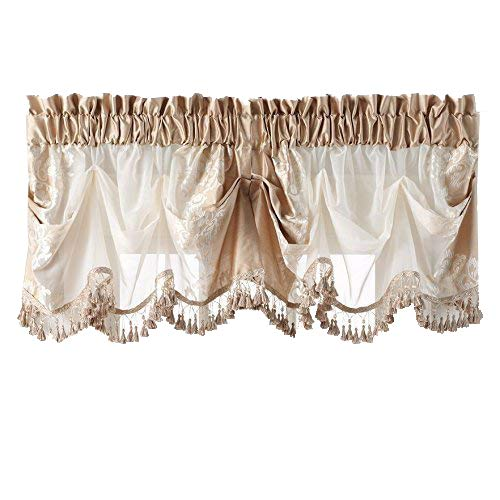 GoodGram Danbury Embroidered Window Treatments Assorted Colors And Sizes (Beige, Single Valance)