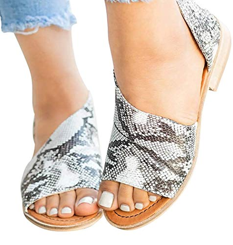 Pursoudy Flat Sandals for Women Open Toe Slip on Fashion Summer Casual Dress Shoes Snake 8.5 B (M) -