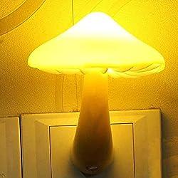 LED Night Light Odeer LED Yellow Light Sensor Night Light Socket Bedside Table Lighting Control Yellow (Size: 10cmx8cm)