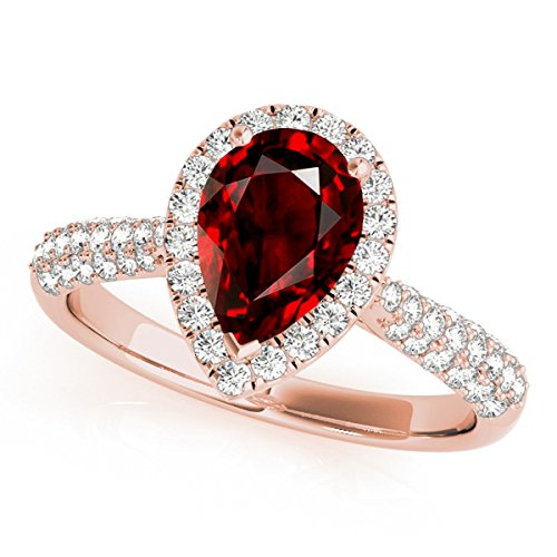 1.55 Ct. Ttw Diamond and Pear Shaped Garnet Ring in 10K Rose (Pear Shaped Garnet Ring)
