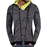 Clearance Deals Men's Casual Autumn Zipper Hooded Sweatshirt - vermers Mens Fashion Personality Long Sleeve Outwear Tops(2XL, Dark Gray)