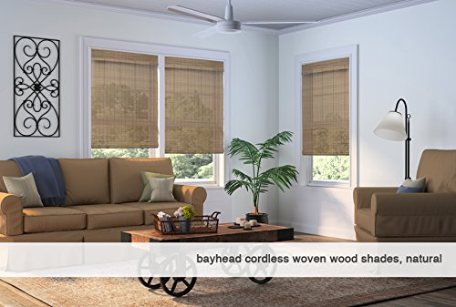 Any Size 20-72 Wide and 24-72 High Hatteras Camel Cordless Woven Wood Roman Shades 36W x 56H