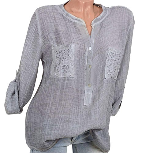 Perman Women Fashion V-Neck Long Sleeve Translucent Loose Daily Casual Shirts with Lace Pocket on Sale (Classic Print Screen Jersey)