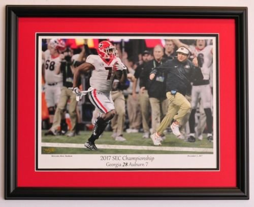 Georgia Bulldogs Football Framed Print - Dawgs beat Auburn to win the SEC (Gold Georgia Bulldogs Football)