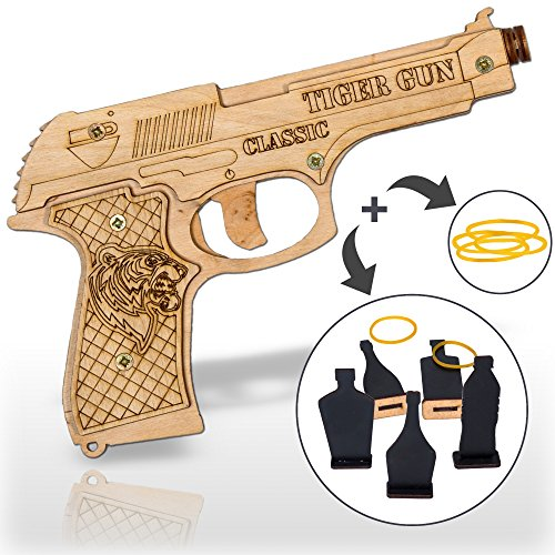 Rubber Band Gun Toy Pistol for Kids Age 6 and up with Ammo and Targets for Indoor Outdoor Games and Pretend Play | Wooden Toy Gun That Shoots for Boys (Make Wooden Toy Gun)