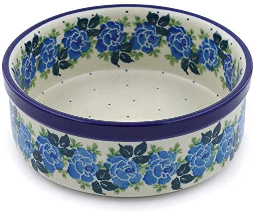 Polish Pottery 6-inch Bowl made by Ceramika Artystyczna (Blue Garland Theme) + Certificate of Authenticity