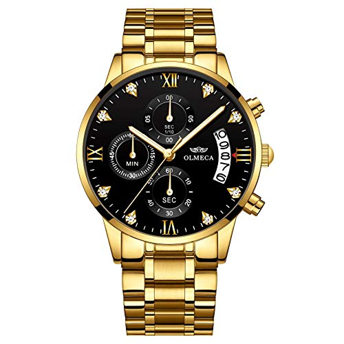 Gold Stainless Steel Men's Wrist Watches Analog Quartz Black Military Chronograph Mutifunctional Crystal Wristwatch for Man with Date Calendar ()