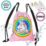 Alritz Mermaid Sequin Drawstring Bag,...