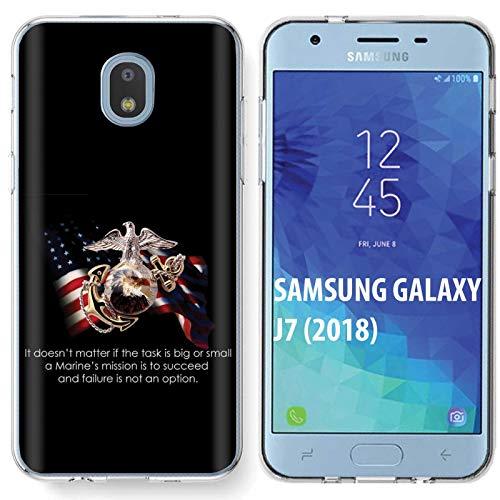 - [NakedShield] Samsung Galaxy (J7 2018)/J7 Aero/J7 Refine/J7 Star/J737/J7 V 2nd Gen [Clear] Ultra Slim TPU Phone Cover Case [USMC Quote Print]
