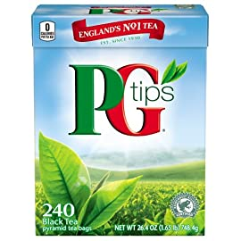 PG Tips Black Tea, Pyramid Tea Bags, 240-Count Box (Pack of 2) 107 Pack of two, 240-count boxes of PG Tips Black Tea England's number one tea Made from the highest quality and most flavorful top two leaves and bud of the tea plant