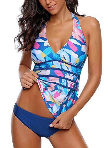 GRAPENT Women's Blue Printed Two Piece Halter V Neck Panel Open Back Tankini Set Swimsuit Size Medium US 8-10