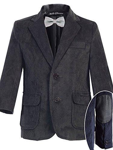 Bello Giovane Boys Charcoal Corduroy Blazer SZ 8-14 (Pick Your Free Bow Tie) (10, (Boys Corduroy Blazer)