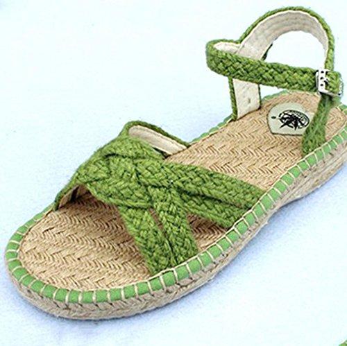 DM&Y 2017 chaussures de chanvre tiss¨¦es ¨¤ la main dame sandales plates m¨¨re chaussures sandales respirante . green . 38