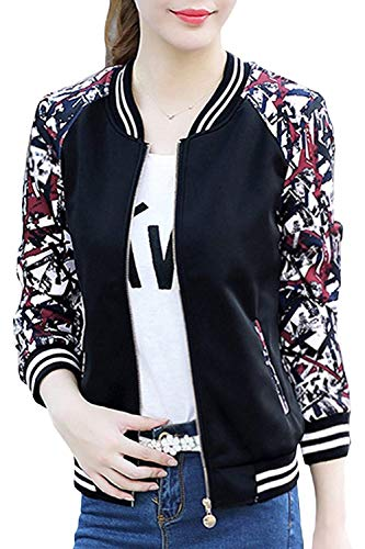 Slim Mujer Elegante 1 con Fashion Baseball Larga Cremallera Ocasional Chaqueta Primavera Lindo Otoño Fit Chic Abrigos Impresión Outerwear Chaquetas Black Manga arRwa
