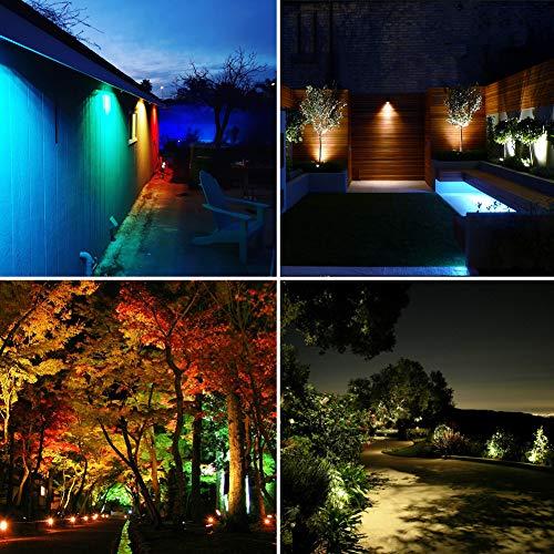 COVOART Color Changing LED Landscape Lights Landscape Lighting Waterproof LED Garden Pathway Lights Walls Trees Outdoor Spotlights with Spike Stand, Outdoor Landscaping Lights, 4 Pack by COVOART (Image #4)