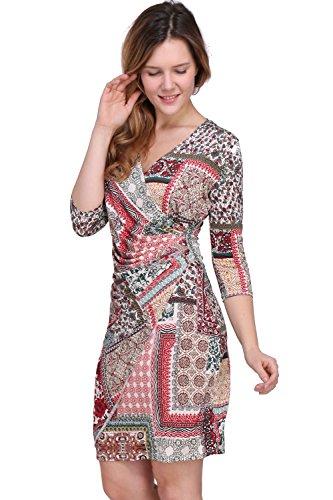 Revdelle - Made in France robe pliss col en V manches 3/4 pour Femme Myriam Rouge