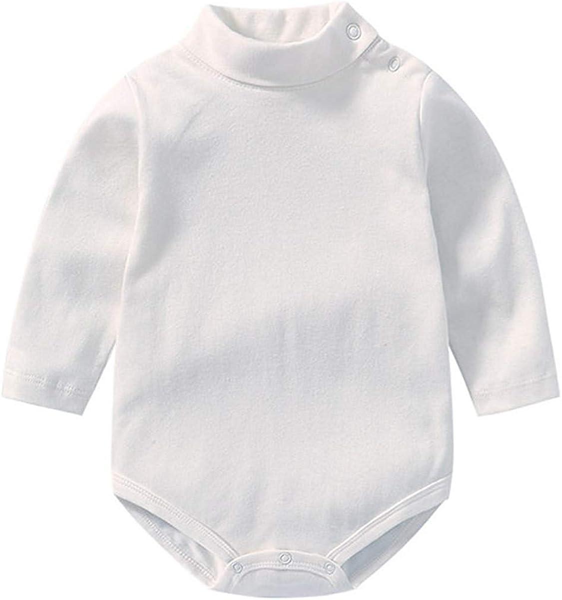 CHRONSTYLE BabyTurtleneck Bodysuit Boys Girls High Collar Long Sleeve Romper Jumpsuit