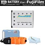 Battery Kit For Fujifilm FinePix XP70, XP80, XP90, XP120 Waterproof Digital Camera Includes Extended Replacement (1000Mah) For Fuji NP-45A, NP-45s Battery + Floating Strap + MicroFiber Cleaning Cloth