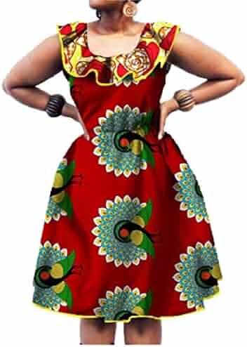 f0474892d5f Winwinus Women s Batik African Dashiki Waist Club Plus Size Party Dress
