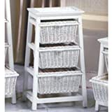 White Finish Triangle Seagrass w/Wicker 3-Basket Stand