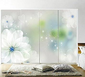 Stickers Per Ante Armadio.Creative Work Beautiful Flower Painted Wooden Door Sliding Wardrobe