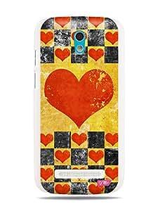 GRÜV Premium Case - 'Retro Vintage Worn Grunge Patina : Heart Chess Checker Board Pattern' Design - Best Quality Designer Print on White Hard Cover - for HTC Desire 500 506e