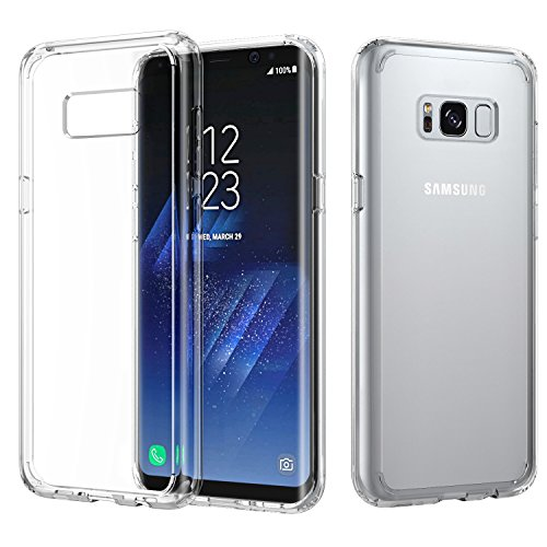 MoKo Galaxy S8 Case, Crystal Clear TPU Bumper Case Slim Fit Hybrid PC Shell [Shock-Absorbing] [Scratch-Resistant] Hard Back Cover for Samsung Galaxy S8 - Crystal Clear
