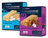 Transcend Energy Management Protein Snack Bar Variety Pack – Low Carb Low Sugar with Delicious Vanilla Crisp and Salted Toffee Pretzel – 8 Bars Total For Sale