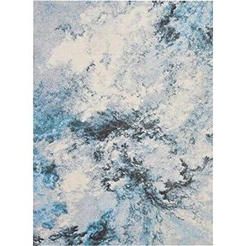 Amazon Com Nourison Abstract Shag Blue Multicolor Area