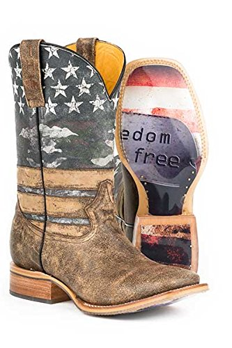 Tin Haul Men's Size 8 FREEDOM DOG TAGS American Flag Stars Transparent Sole Leather Cowboy Boots by Freedom Dog Tags