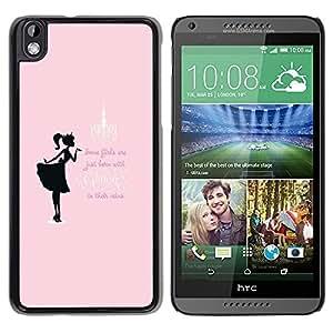 For HTC DESIRE 816 , S-type® Glitter Girls Pink Black Text Minimalist - Arte & diseño plástico duro Fundas Cover Cubre Hard Case Cover