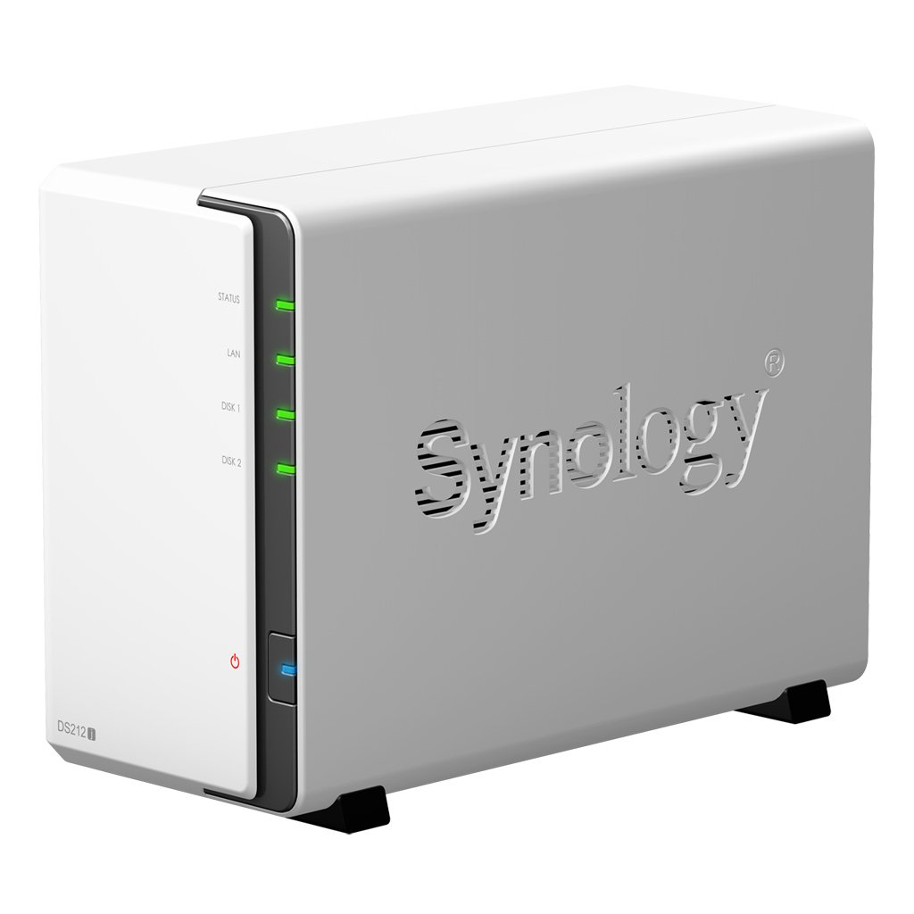 Synology DS212J NAS - Servidor (Serial ATA-300, hasta 6 TB, RAID integrado, adaptador de red integrado), Blanco