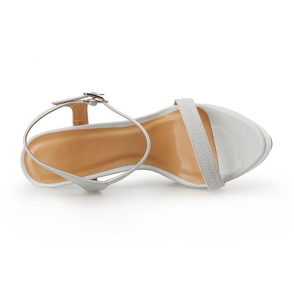 MAIERNISI JESSI Unisex Men's Women's Platform Stiletto High Heels Ankle Strap Slingback Sandals (Women Need 1.5-2 Size Down) B07D7SVJ7T 12 M US|White