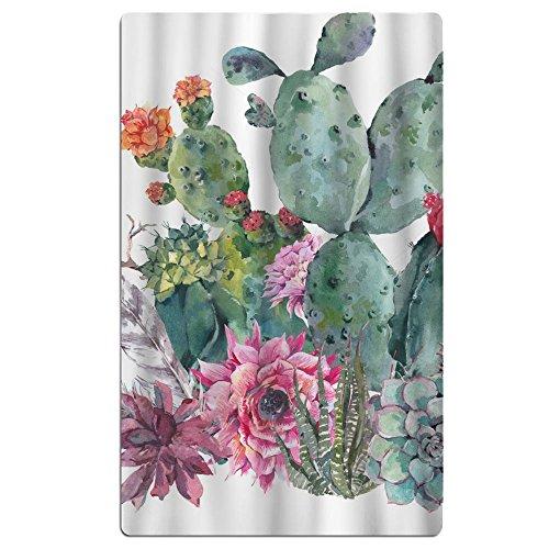 FSKDOM Cotton Plush Natural Vintage Watercolor Cactus In Boh