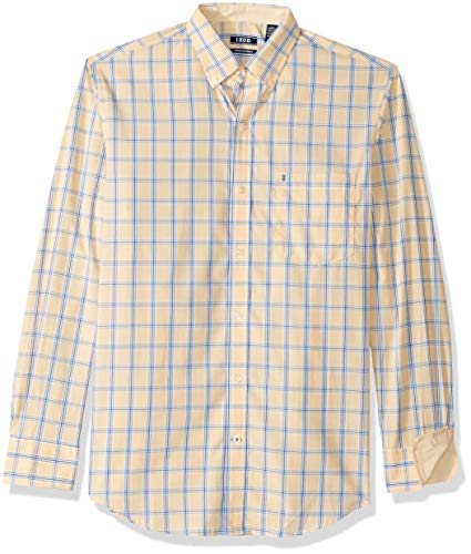 Slim Fit Cream - IZOD Men's Premium Essential Check Long Sleeve Shirt (Regular and Slim Fit), Golden Cream, Medium