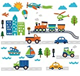 CherryCreek Decals Transportation and City Scene Kids' Room Peel and Stick Wall Sticker Decals Picture