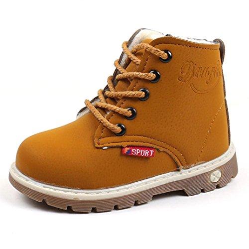 Children Shoes, Toamen Children Autumn Winter Fashion Boys Girls Warm Martin Sneaker Boots Kids Baby Casual Shoes (Tag 23= UK: 6, Yellow)