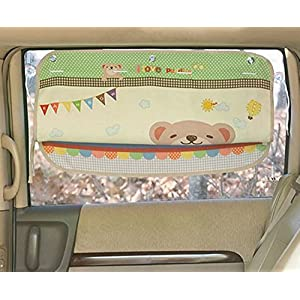 Tokkids Sunshade for car baby - Large Car Sunshade Protector - Blocks over 98% UV Rays Car Sun Visor Protector - Easy to Install - Happy bear design