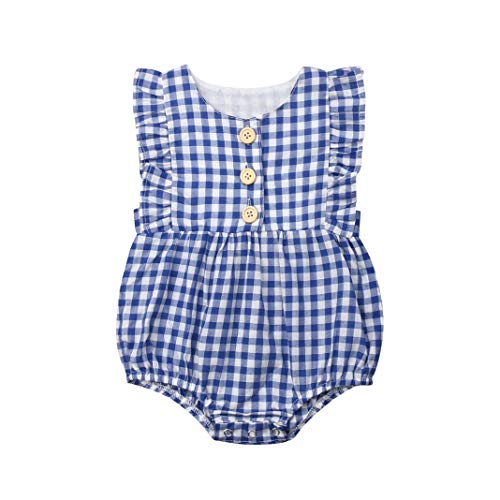 Infant Baby Girls Plaid Button Romper Ruffle Sleeveless Bodysuit Summer Outfit Clothes (Blue, 12-18 Months)