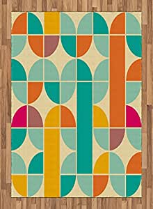Pop Art Funky Unusual Geometric Forms Mosaic Style Old Fashioned Artistic Graphic, Flat Woven Accent Rug for Living Room Bedroom Dining Room, 5.2 x 7.5 FT, Multicolor