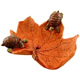 Top Collection Miniature Fairy Garden and Terrarium Statue, Little Turtles on Leaf with Ladybug