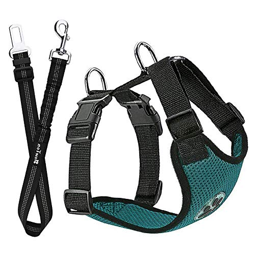 - SlowTon Dog Car Harness Plus Connector Strap, Multifunction Adjustable Vest Harness Double Breathable Mesh Fabric with Car Vehicle Safety Seat Belt (Large, Bottle Green)